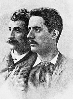 0045954 © Granger - Historical Picture ArchiveGIACOMO PUCCINI (1858-1924).   Italian operatic composer. Puccini, right, photographed in 1884 with Italian poet and journalist Ferdinando Fontana (1850-1919).
