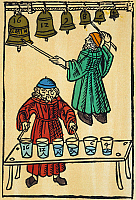 0010648 © Granger - Historical Picture ArchivePYTHAGORAS: SCALES, 1492.   Pythagoras playing the musical scale on bells and on water-glasses. Colored woodcut from Franchinus Gaffurius' Theorica Musicae, Milan, 1492.