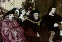 0323049 © Granger - Historical Picture ArchiveSIR THOMAS MORE (1478-1535).   English statesman and author. More (center) with his father, Sir John More (left), daughter-in-law Anne Cresacre More, and son John More II. Detail of a painting, 1593, by Rowland Lockey, after Hans Holbein the Younger.