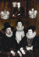 0323051 © Granger - Historical Picture ArchiveSIR THOMAS MORE: FAMILY.   Members of the family of Sir Thomas More, English statesman and author. Left to right: Grandson Thomas More II, great-grandson Christopher Cresacre More, and granddaughter-in-law Maria Scrope More. On the wall above them is a portrait of daughter-in-law Anne Cresacre More. Detail of a painting, 1593, by Rowland Lockey.