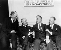 0621395 © Granger - Historical Picture ArchiveFRANKLIN DELANO ROOSEVELT  (1882-1945). 32nd President of the United States. After his election as governor of New York, with (left to right): Henry Morgenthau, Herbert Lehman, and Maurice Block. Photograph, 1928.
