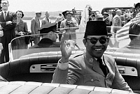 0126402 © Granger - Historical Picture ArchiveSUKARNO (1901-1970).   Indonesian nationalist leader and politician. Photographed by Warren K. Leffler during a visit to Washington, D.C., as President of Indonesia, 16 May 1956.