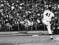 0169908 © Granger - Historical Picture ArchiveTOM SEAVER (1944- ).   George Thomas Seaver, known as Tom. American baseball pitcher. Delivering a pitch during the second inning of his one-hit performance for the New York Mets against the Chicago Cubs, at Shea Stadium in Queens, New York City, 9 July 1969.