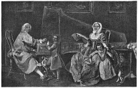 0407536 © Granger - Historical Picture ArchiveBURKAT SHUDI (1702-1773).   Swiss-born English harpsichord maker. Shudi tuning a harpsichord presented to him by Frederick the Great, with his family. Engraving after a contemporary painting.
