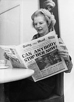 0622595 © Granger - Historical Picture ArchiveMARGARET THATCHER  (1925-2013). English politician and Prime Minister, 1979-1990. Reading a newspaper announcing the results of the election that would give her leadership of the UK Conservative Party. Photograph, 5 February 1975.