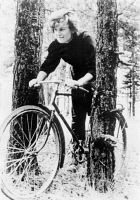 0622721 © Granger - Historical Picture ArchiveVALENTINA TERESHKOVA  (1937-). Soviet cosmonaut and first woman to visit outer space. Bicycling in a wooded area. Photograph, 1963.