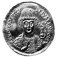 0001206 © Granger - Historical Picture ArchiveTHEODORIC (c454-526).   King of the Ostrogoths. Contemporary gold solidus.