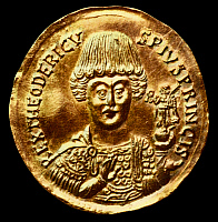0265383 © Granger - Historical Picture ArchiveTHEODORIC (c454-526).   King of the Ostrogoths. Contemporary gold solidus.