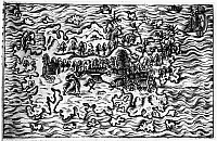0107690 © Granger - Historical Picture ArchiveQUEIROS: VOYAGES, 1613.   Woodcut from an edition of Pedro Fernandez de Queiros' travel writing published at Leipzig, 1613.