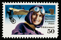 0043514 © Granger - Historical Picture ArchiveHARRIET QUIMBY (1875-1912).   America's first licensed female pilot. On a U.S. postage stamp, 1991.
