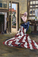 0008448 © Granger - Historical Picture ArchiveBETSY ROSS (1752-1836).   American seamstress and patriot. Betsy Ross making the first American flag. Drawing by Elisabeth Moore Hallowell.
