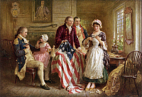 0076592 © Granger - Historical Picture ArchiveBETSY ROSS (1752-1836).   American seamstress and patriot. Betsy Ross showing General George Washington (seated), financier Robert Morris (touching flag), and her uncle, Colonel George Ross, how she cut the stars for the first American flag, 1776. After the painting by Jean Leon Gerome Ferris.