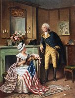 0108139 © Granger - Historical Picture ArchiveBETSY ROSS (1752-1836).   American seamstress and patriot. 'Then, now, and forever!' Betsy Ross sewing the first flag with General George Washington standing alongside. Color lithograph after a painting by E. Percy Moran.