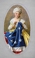 0108140 © Granger - Historical Picture ArchiveBETSY ROSS (1752-1836).   American seamstress and patriot. Betsy Ross sewing the first American flag. Color lithograph after a painting by G. Liebscher.