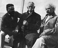 0268703 © Granger - Historical Picture ArchiveROGERS AND CLEMENS, c1900.   Z.S. Freeman, American financier Henry Huttleston Rogers and writer Samuel Clemens (Mark Twain) aboard Rogers' steam yacht the Kanawha. Photograph, c1900.