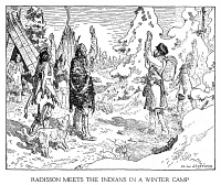 0004507 © Granger - Historical Picture ArchivePIERRE ESPRIT RADISSON   (1636-1710). Canadian fur trader and explorer. Co-founder of Hudson's Bay Company. Radisson encounters Native American chiefs. A modern drawing by C.W. Jefferys.
