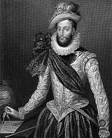 0036280 © Granger - Historical Picture ArchiveSIR WALTER RALEIGH   (1552-1618). English adventurer, courtier, and writer. Steel engraving, English, 1829, after a painting by Zucchero.