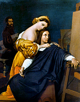 0057056 © Granger - Historical Picture ArchiveRAPHAEL SANZIO (1483-1520).   Italian Renaissance painter. With Fornarina. Oil on canvas, c1827, by Jean Auguste Dominique Ingres.