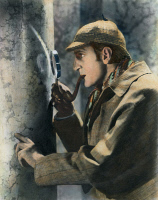 0052353 © Granger - Historical Picture ArchiveSHERLOCK HOLMES.   Basil Rathbone (1892-1967), English actor, in the role of 'Sherlock Holmes'. Oil over a photograph.