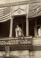 0528137 © Granger - Historical Picture ArchiveJEANNETTE RANKIN   (1880-1973). American suffragist, pacifist, and first woman to hold national office. Photographed speaking in Washington D.C., 2 April 1917.