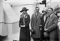 0121335 © Granger - Historical Picture ArchiveJOHN D. ROCKEFELLER, JR.   (1874-1960). American industrialist. Rockefeller (right) photographed with his wife, Abigail Greene Aldrich Rockefeller (left), their daughter Abby, and her husband, David M. Milton, c1928.