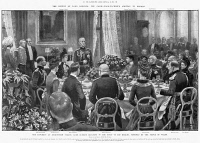 0370676 © Granger - Historical Picture ArchiveFREDERICK SLEIGH ROBERTS   (1832-1914). British soldier, nicknamed 'Bobs' by soldiers. Lord Roberts replying to the toast to his health by the Prince of Wales during a luncheon at Buckingham Palace in London. English newspaper illustration, January 1901.