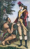 0104376 © Granger - Historical Picture ArchiveROBERT ROGERS (1731-1795).   American frontier soldier. Rogers with a Native American chief. Line engraving, 18th century.