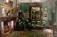 0039630 © Granger - Historical Picture ArchiveDANTE GABRIEL ROSSETTI   (1828-1882). English painter and poet. Rossetti (left) in the drawing room of his home at 16 Cheyne Walk, London, reading from his 'Ballads and Sonnets' to critic and poet Theodore Watts-Dunton. Gouache and watercolor on paper, 1882, by Henry Treffry Dunn.