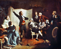 0020894 © Granger - Historical Picture ArchiveROUGET DE LISLE (1760-1836).   Claude Joseph Rouget de Lisle. French army officer and composer. Performing 'La Marseillaise' for the first time, at the home of the mayor of Strasbourg, 1792. Oil on canvas, 1849, by Isidore Pils.