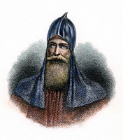0053780 © Granger - Historical Picture ArchiveRURIK (d. c879).   Varangian warrior and founder of Kievan Rus. Steel engraving, American, 19th century.