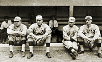 0217018 © Granger - Historical Picture ArchiveBOSTON RED SOX, c1916.   Members of the Boston Red Sox baseball team, c1916. Left to right: George H. 'Babe' Ruth, Ernie Shore, George 'Rube' Foster, and Dellos 'Del' Gainer.