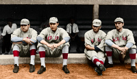 0528346 © Granger - Historical Picture ArchiveBOSTON RED SOX, c1915.   Members of the Boston Red Sox baseball team, c1915. Left to right: George H. 'Babe' Ruth, Ernie Shore, George 'Rube' Foster, and Dellos 'Del' Gainer.
