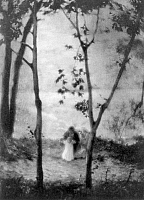 0117510 © Granger - Historical Picture ArchiveMARY LEARNS TO WALK.   A woman teaching a little girl to walk with trees in foreground in the spirit of the French Impressionists. Photogravure after a photograph by Edward Steichen, 1913.