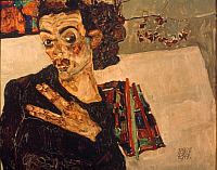 0049067 © Granger - Historical Picture ArchiveEGON SCHIELE (1890-1918).   Austrian painter. 'Self-portrait with Spread Fingers.' Oil on wood, 1911.