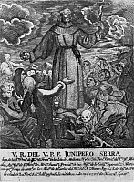 0168712 © Granger - Historical Picture ArchiveJUNÍPERO SERRA (1713-1784).   Originally, Miguel José Serra. Spanish missionary in America. Serra with a crucifix in one hand and a stone in the other, preaching to a crowd of Native Americans. Illustration, 1913.