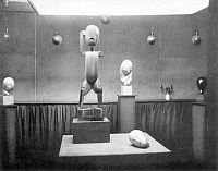 0018432 © Granger - Historical Picture ArchiveSTIEGLITZ GALLERY, NYC, 1914.   Part of an exhibition held in 1914 at Alfred Stieglitz's 291 Gallery on Fifth Avenue in New York City. Pictured is sculpture by Constantin Brancusi. Photograph by Alfred Stieglitz.