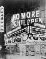0526898 © Granger - Historical Picture ArchiveNO MORE CHILDREN, c1929.   The marquee of the Uptown Theatre in Washington D.C., advertising 'No More Children,' a film about birth control. Photograph, c1929.