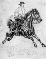 0130279 © Granger - Historical Picture ArchivePHILIP HENRY SHERIDAN   (1831-1888). American army commander. General Sheridan's ride from Winchester to Cedar Creek, Virginina, 19 October 1864, during the American Civil War. Contemporary pencil drawing by Alfred R. Waud.
