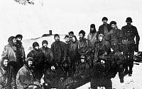0077744 © Granger - Historical Picture ArchiveSHACKLETON EXPEDITION, 1916.   Members of Ernest Shackleton's Imperial Trans-Antarctic Expedition photographed while marooned on Elephant Island, April-August 1916.