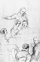 0101332 © Granger - Historical Picture ArchiveFRANZ SCHUBERT (1797-1828).  Austrian composer. Schubert at the piano, with Johann Michael Vogl standing behind him, singing, and Josephine Frohlich sitting next to the composer. Drawing, 1827, by F.G. Waldmuller.