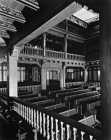 0175372 © Granger - Historical Picture ArchiveFOLGER SHAKESPEARE LIBRARY.   Interior of the Folger Library Theatre in Washington D.C., a replica of 16th and 17th century English courtyard theatres. Photograph, c1950.