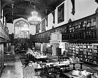 0175373 © Granger - Historical Picture ArchiveFOLGER SHAKESPEARE LIBRARY.   Interior of the Folger Shakespeare Library Tudor-style reading room in Washington D.C. Photograph, c1950.