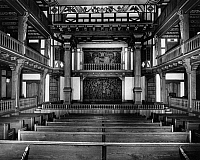 0175374 © Granger - Historical Picture ArchiveFOLGER SHAKESPEARE LIBRARY.   Interior of the Folger Library Theatre in Washington D.C., a replica of 16th and 17th century English courtyard theatres. Photograph, c1950.