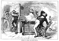 0072573 © Granger - Historical Picture ArchiveMURDER OF SMITH, 1844.   The murder of Mormon leader Joseph Smith and his brother Hyrum by members of an angry mob at Carthage, Illinois, 27 June 1844: wood engraving, c1880.