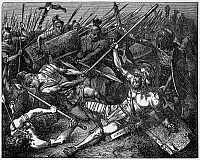 0121972 © Granger - Historical Picture ArchiveSPARTACUS (d.71 B.C.).   Roman (Thracian-born) slave, gladiator, and insurgent leader. The death of Sparacus in battle against Roman armies in 71 B.C. Wood engraving, late 19th century.