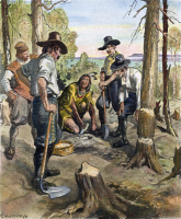 0023760 © Granger - Historical Picture ArchiveSQUANTO TEACHING PILGRIMS.   Squanto teaching the principles of corn culture to the Pilgrims. Drawing by Charles W. Jefferys.