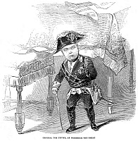 0013861 © Granger - Historical Picture ArchiveCHARLES STRATTON   (1838-1883). 'General Tom Thumb.' American performer. When on exhibition in London, England, in 1845. Wood engraving, from a contemporary English newspaper.