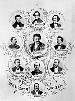 0124974 © Granger - Historical Picture ArchiveVIENNESE COMPOSERS.   Portraits of ten Viennese waltz composers. Center: Johann Strauss the Younger; clockwise from top left: Johann Strauss the Elder, Joseph Lanner, Josef Strauss, Eduard Strauss, Josef Bayer, Karl Millöcker, Philipp Fahrbach the Younger, Karl Michael Ziehrer; bottom: Johann Schrammel. Watercolor, 1892, by Theodor Zasche.