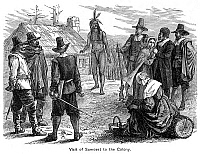 0037511 © Granger - Historical Picture ArchiveSAMOSET (c1590-1653).   Native American chief of Monhegan Isle. Samoset's first visit to Plymouth Colony on 16 March 1621. Wood engraving, 19th century.