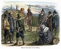 0040836 © Granger - Historical Picture ArchiveSAMOSET (d.1653?).   Native American leader. On his first visit to Plymouth Colony in March 1621. American engraving, 19th century.